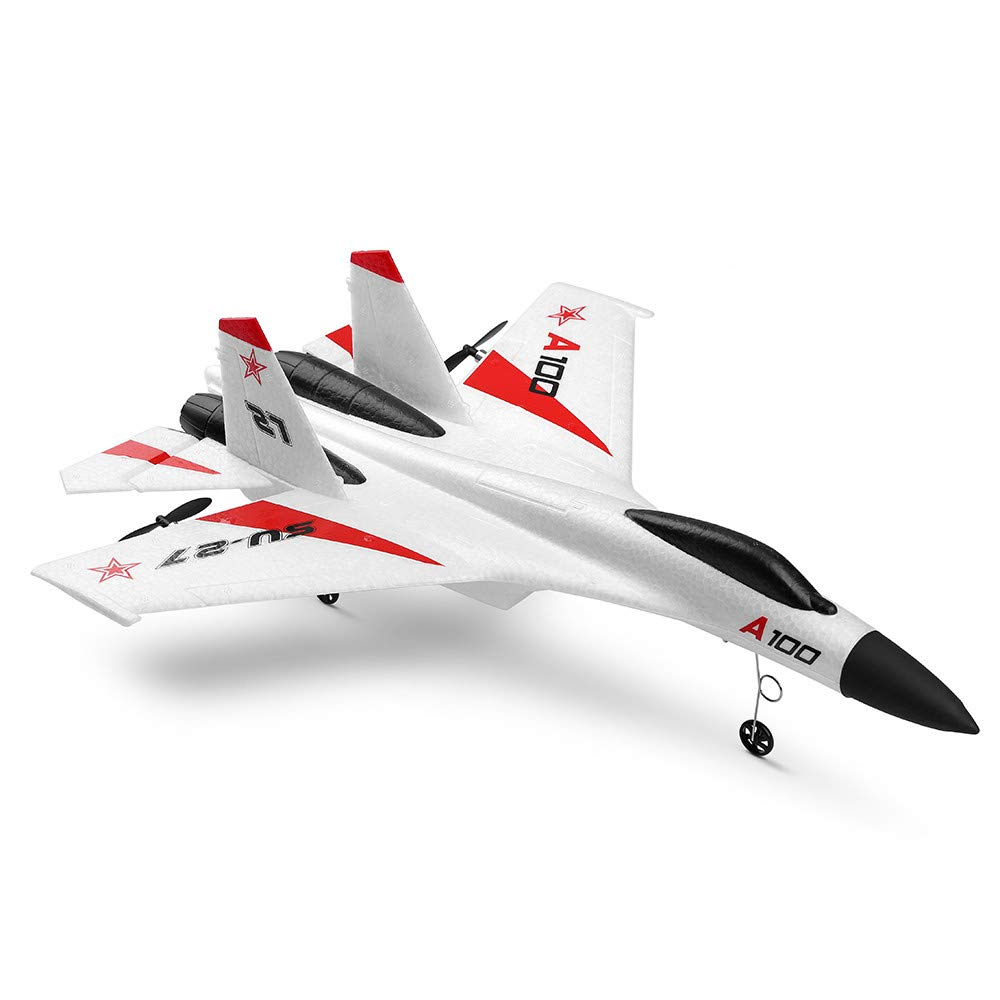 RC Helicopter, RC Airplane Dual-Power RTF Glider A100 SU-27 3CH 2.4GFlight Model EPP Composite Material 14+ Three-Channel for WL (White)