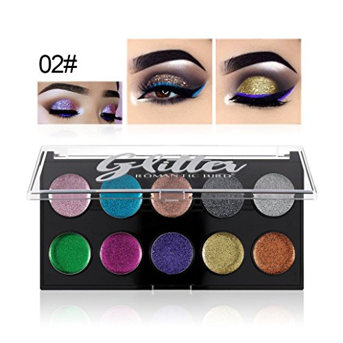 Alonea Shimmer Eyeshadow Palette, Glitter Powder Eyeshadow Makeup Waterproof Brighten Pigment Eye Shadow Plate (02# Iz663L0R