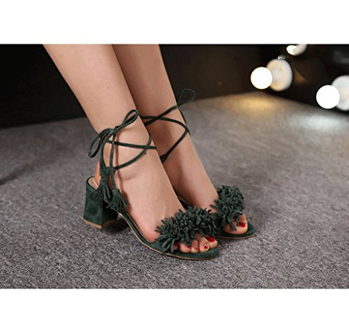 Tassel Straps High Heels Elegant Sandals Sexy Red Ankle Shoes Roman Shoes (Color : Green, Size : 36)