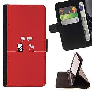 """Bright-Giant (Rojo música mp3 jugador minimalista divertido"""") Modelo Colorido Cuero Carpeta Tirón Caso Cubierta Piel Holster Funda Protección Para Samsung Galaxy S6"""