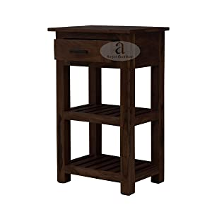 ROMANCHY BOSTEN Sheesham Wood Tallboy Corner Table with Drawer in Walnut Finish