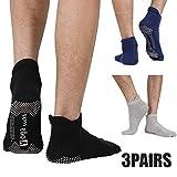 3 Pack Men's Non Slip Yoga Socks, Anti-Skid Pilates, Barre, Bikram Fitness Hospital Slipper Socks with Grips