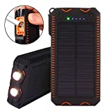 Solar Charger, TechVibe 15000mAh Solar Power Bank with Flashlight, Cigarette Lighter, Dual USB Port Outdoor Water-Resistant Backup Battery Pack -Orange