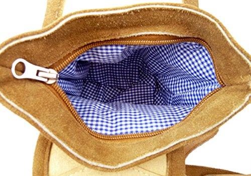 Trachtentasche Dirndltasche Piccola Borsa A Tracolla Lederhosen In Pelle Marrone Chiaro