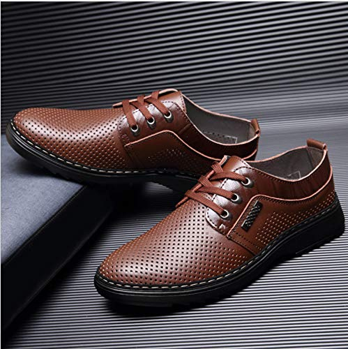 Shoes Out Round Women's Hollowed Shoes Breathable Leather shoes KPHY Thirty Head Tie Eight Men'S Yellow Leisure w1xaIqIf
