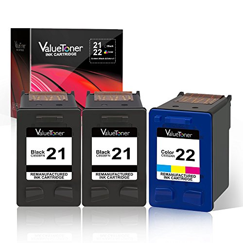 Valuetoner Remanufactured Ink Cartridge Replacement 3 Pack for HP 21 C9351AN & HP 22 C9352AN (2 Black + 1 Tri-Color) for HP DESKJET F4180,F2210,D1560,3930,OFFICE 4315,J3640,FAX 3180,PSC 1401 (3180 Fax)