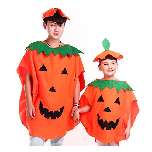 [Multifit Adults Halloween Pumpkin Costume with Hat&Candy Bag Costume Accessory] (Adult Pumpkin Halloween Costumes)