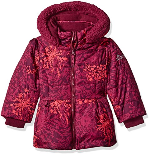 Big Chill Girls' Little Printed Bubble Jacket, Magenta, 5/6