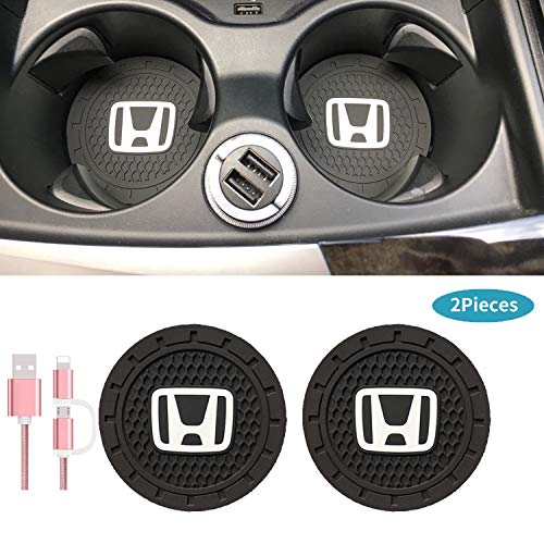 Car Interior Accessories for Honda Cup Holder mats Insert Coaster, Silicone Vehicle Travel auto Logo 2.75 Inch Anti Slip Cup Mat for Honda All Models 2 Pack