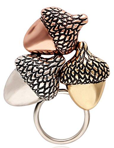 SenFai Fashion and Simple Three Color Acorns Eyeglass Holder Trendy Brooch Pin for Women (Gold)