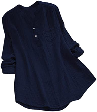 OverDose mujer Con Cuello En Cuello De Manga Larga De AlgodóN Casual SóLido TúNica Suelta Tops Camiseta Mujer Talla Grande: Amazon.es: Ropa y accesorios