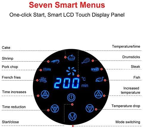 CloverGorge Machine de Frites À Écran Tactile de Poêle À Frire Électrique Sans Fumée Air Fryer 1300W / 2.6L, Noir, Ue