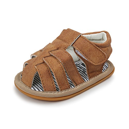 Greceen Infant Baby Boys Girls Summer Sandals PU Leather Rubber Sole Toddler First Walker Shoes(Lx101 0-6 Months Brown)