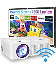 $74 » 2021 Upgraded, 7500Lux WiFi Projector with 100'' Projector Screen, Projector for Outdoor Movies 1080P Full HD Supported Mini Portable Projector Compatible with Smartphone HDMI USB AV AUX