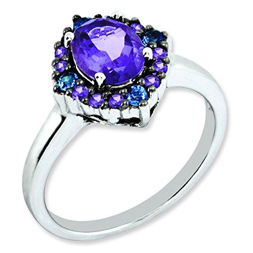 Sterling Silver Amethyst & Tanzanite Ring - Size 5