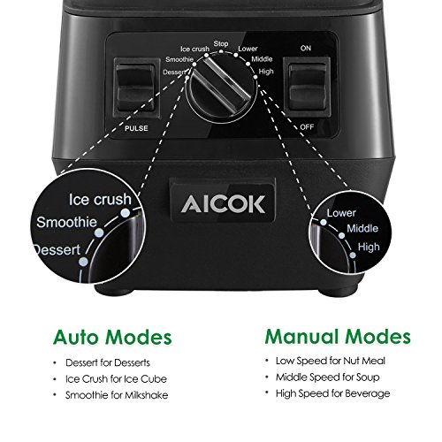 Aicok Smoothie Blender 1400W Professional High Speed Mixer 30,000RPM, with 70oz BPA-Free Tritan Pitcher, Variable Speed Controls, Stainless Steel 6 Pro Blades for Ice Crushing, Black by Aicok (Image #2)
