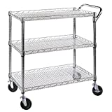 Seville Classics SHE18304BZ UltraZinc 3-Shelf Commercial Utility Cart