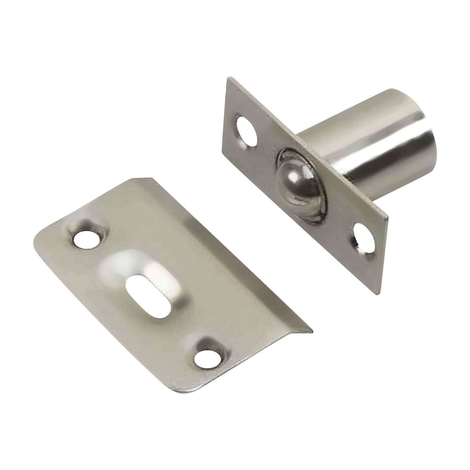 2 Pack Rok Hardware Brushed Nickel Adjustable Large Closet Cabinet Ball Catch Latch with Radius Corners and Strike