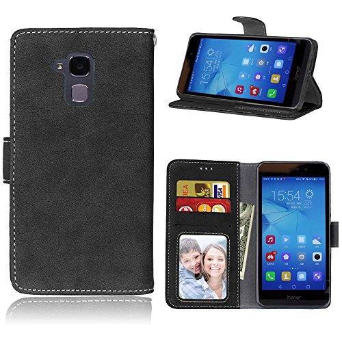 YHUISEN Caso de honor 5C, de cuero sólido Premium PU caja de cuero de la caja Flip Folio cubierta de la caja de protección con ranura para tarjeta / soporte para Huawei Honor 5C ( Color : Purple ) Black