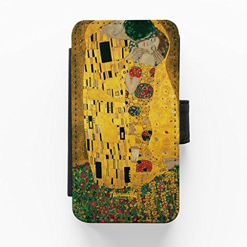 The Kiss by Gustav Klimt Hochwertige PU-Lederimitat Hülle, Schutzhülle Hardcover Flip Case für iPhone 5 / 5s vom Painting Masterpieces + wird mit KOSTENLOSER klarer Displayschutzfolie geliefert