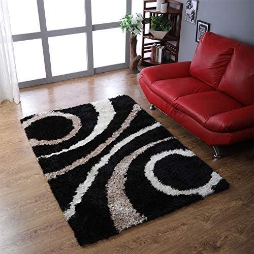 Rugsotic Carpets Hand Tufted Shag Polyester 8'x10' Area Rug Geometric Black K00002
