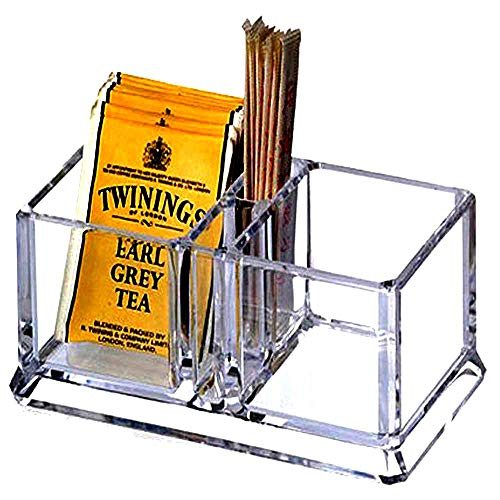 Yakri Clear Acrylic Two Lattices Tea Bags Holder Coffee Sugar Bag Case Guest Room Storage Boxes