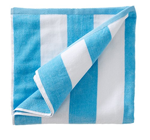 Great Bay Home 100% Cotton Plush Cabana Stripe Oversize Velour Beach Towel (40x70). By Brand. (Air Blue) Blue Velour Blanket