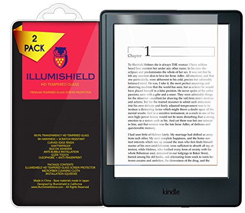 iLLumiShield Glass Screen Protector Compatible with Amazon Kindle (2016,6 inch,8th Generation)(2-Pack) Anti-Scrach, Case Friendly and No-Bubble Clear Tempered Glass