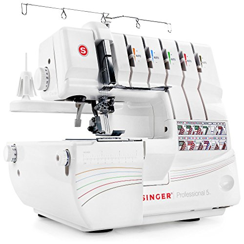SINGER | Professional 5 14T968DC Serger with 2-3-4-5 Threaded Capability, including Cover Stitch, Auto Tension, and Bonus Presser Feet (Serger Pfaff)