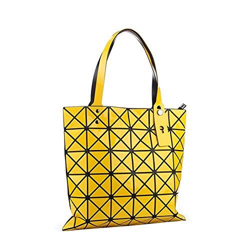 Bolso De Las Señoras Hombro Geométrico Rombal Moda Simple Bolso Plegable Bolso Portátil Yellow