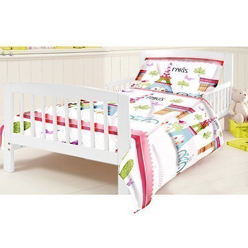 Ready Steady Bed Children's Junior Cot Bed Size Paris Print Duvet Cover Set. Size: 120cm x 150cm