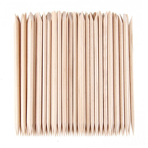 Beauty7 500 Pcs Nail Art Orange Wood Sticks Cuticle Pusher Remover Manicure Pedicure Tool (500 Pcs)