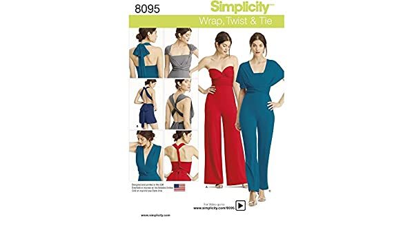Simplicity 8095 Misses/' Knit Wrap and Tie Jumpsuit and Slim Leg   Sewing Pattern