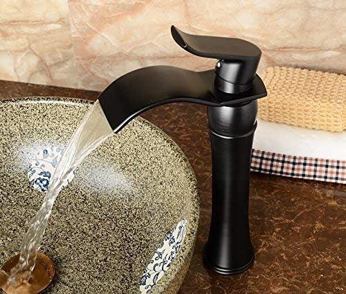 シングルコントロールボート滝固体真鍮浴室の蛇口、油を塗った青銅の温冷調整