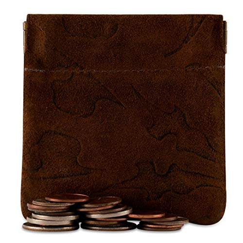 - Classic Leather Squeeze Coin Purse change Holder For Men, Pouch size 3.5 in. across X 3.25 in. high By Nabobb (Venetian Brown Suede)
