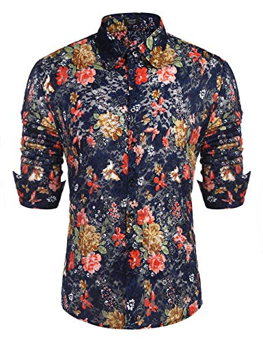 COOFANDY Men's Floral Dress Shirt Long Sleeve 70s Printed Casual Button Down Shirts Navy Blue