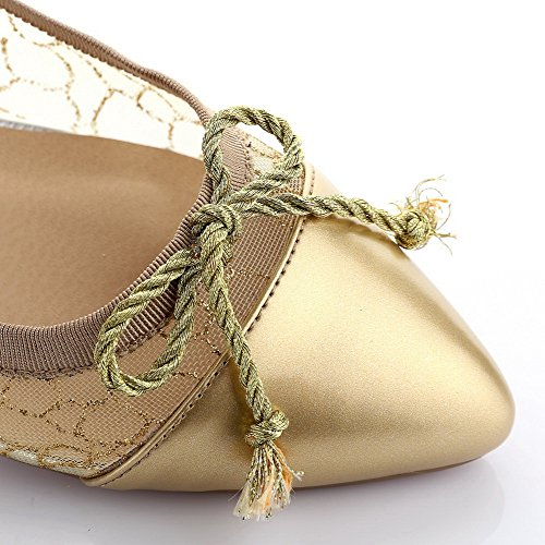 Amoonyfashion Womens Pointed Toe Closed Toe Low Heels Pumps with Mesh Legging and Flowers Gold lUNYQXlcI