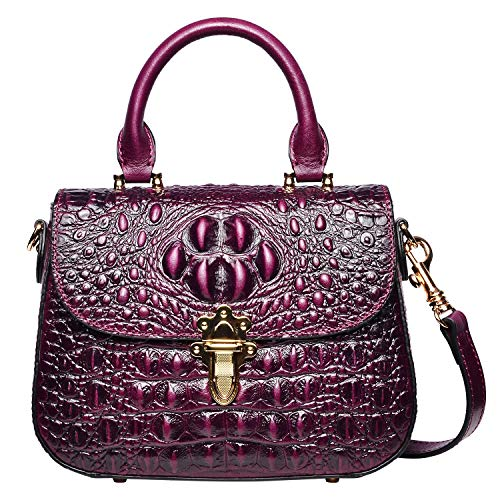 PIJUSHI Leather Crossbody Shoulder Bags for Women Crocodile Satchel Bags (99806 Violet) ()