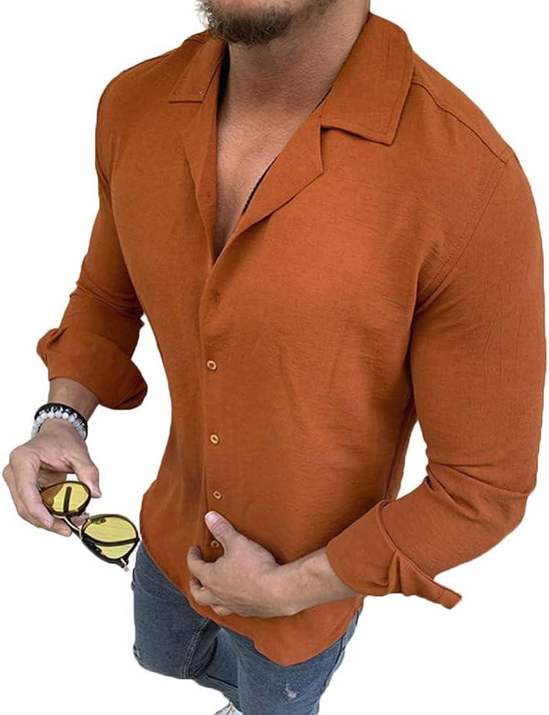 Minetom Camisa de Hombres Manga Larga Clásico Slim Fit Casual Formal Negocio Trabajo Blusa Camiseta Color Sólido Botones Shirt Top
