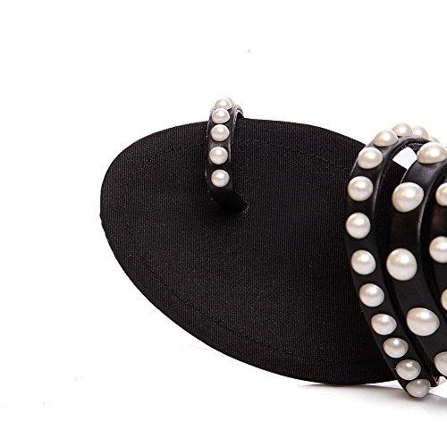Allhqfashion Womens Open Teen No Heel Stevige Pull Op Pantoffels Zwart