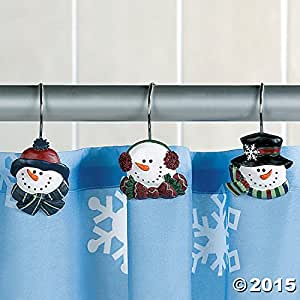 Snowman christmas winter holiday shower curtain hooks set of 12 home kitchen for Bathroom holiday shower curtains
