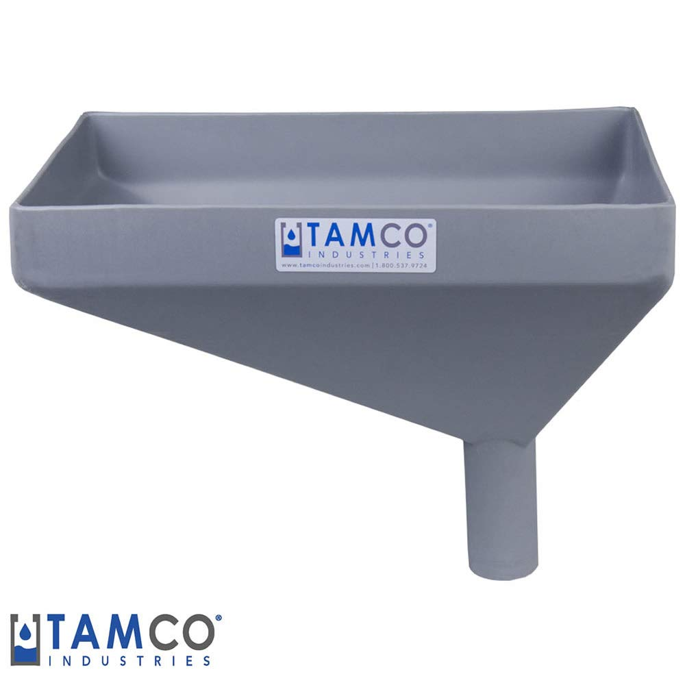 16'' x 10'' Rectangular Light Gray Tamco Linear Low Density Plastic Funnel with 2'' OD Offset Spout (1 Funnel)