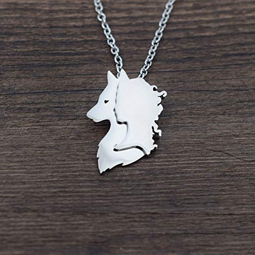 Wolf and Woman Necklace | Pagan Necklace Jewelry | Halloween Jewelry Charm (6Pcs) ()