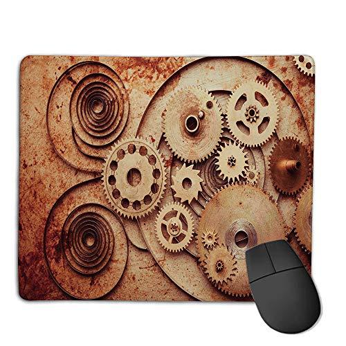 Premium-Textured Mouse Mat,Non-Slip Rubber Mousepad Waterproof,Copper,Mechanical Clocks Details Old Rusty Look Backdrop Gears Steampunk Design Decorative,Dark Orange Peach,Applies to Games,Home, SCH