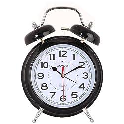 Maple's 6-Inch Double Bell Alarm Clock, Black