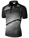 men's Casual Cool Max Fabric Sporty Design Printed Short sleeve Collar Top BLACK L