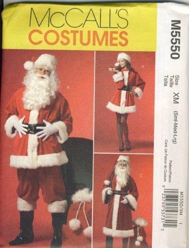 McCall Sewing Pattern M5550 XM - Use to Make - Santa Costume - Sizes S, M, -