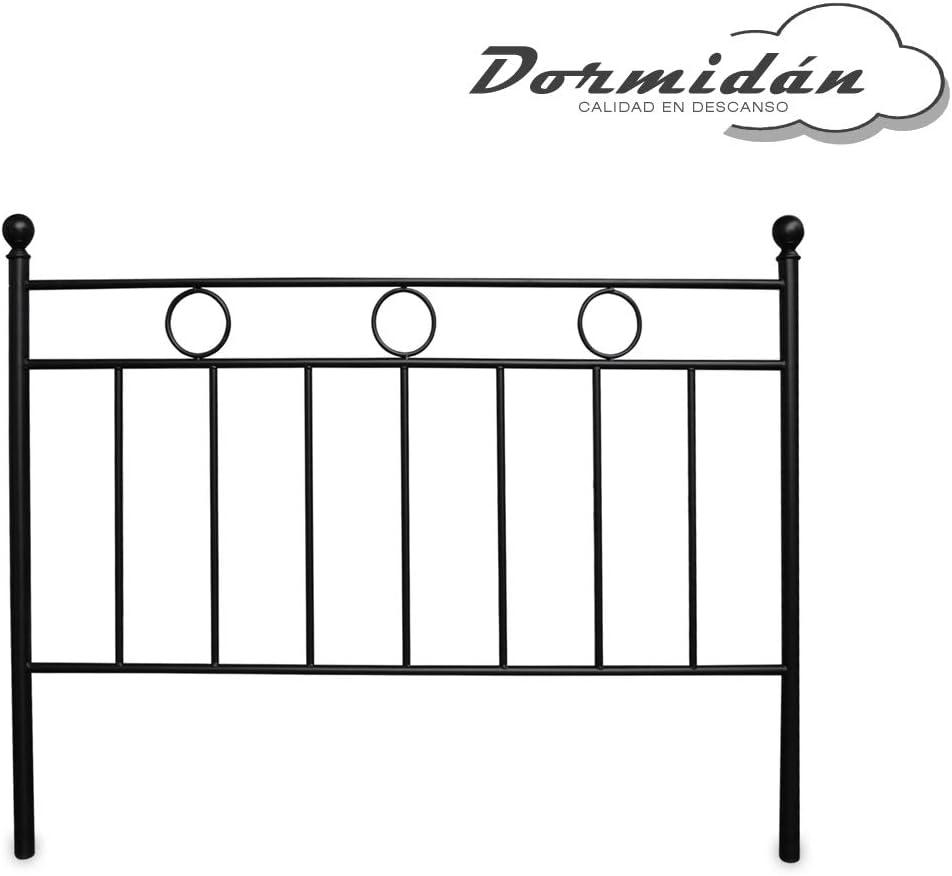 Dormidán- Cabecero de Forja Modelo Niza, Medida cabecero 150x117 (Cama 135, Negro)