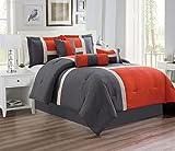 Grand Linen 7 Piece Oversize ORANGE/GREY Patchwork All-Season Comforter set 106'' X 94'' (California) CAL KING Size Microfiber''Emma'' Bedding