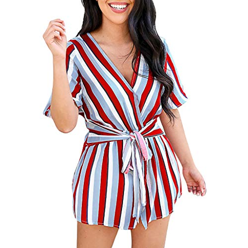 Mikilon Women's Sexy Deep V Neck Short Sleeve Striped Wrap Blouse Back Split Mini Dress with - Paisley Belt Belted